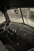 Old Automobile Prints - Inside an old junker car Print by Edward Fielding