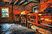 Grist Mill Posters - Inside Kerr Mill II - North Carolina Poster by Dan Carmichael