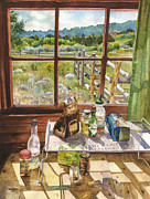 Cabin Window Paintings - Inside My Cabin by Anne Gifford