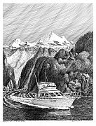 Marine Drawings Posters - Inside Passage to Alaska Poster by Jack Pumphrey