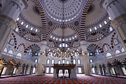 Moslem Prints - Inside the Azadi mosque at Ashgabat in Turkmenistan Print by Robert Preston