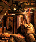 Grain Mill Prints - Inside the Old Mill Print by Michael Pickett