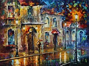 Rain Painting Framed Prints - Inspiration of Beauty - Palette Knife Oil Painting On Canvas By Leonid Afremov Framed Print by Leonid Afremov