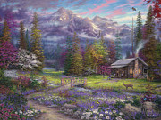 Bierstadt Prints - Inspiration of Spring Meadows Print by Chuck Pinson