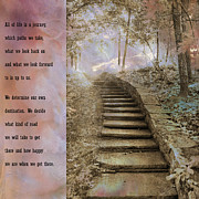 Inspirational Prints Prints - Inspirational Art Nature - Stairs To Heaven - Dreamy Nature Print by Kathy Fornal