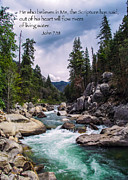 Archival Paper Posters - Inspirational Bible Scripture Emerald Flowing River Fine Art Original Photography Poster by Jerry Cowart