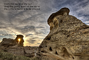 Hoodoo Prints - Inspirational Hoodoo Badlands Alberta Canada Print by Mark Duffy
