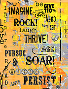 Motivational Art Mixed Media Prints - Inspirational Motivational Typography Pop Art Print by Anahi DeCanio