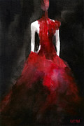 Red Woman Posters - Inspired by Alexander McQueen Fashion Illustration Art Print Poster by Beverly Brown Prints