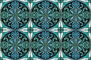 Ceiling Mixed Media Posters - Inspired by Burmese Temple Ceiling - teal Poster by Marta Harvey