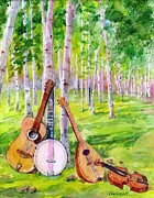 Guitar Strings Painting Originals - Instruments In The Birches by Kathleen  Gwinnett