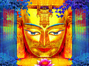 Statue Portrait Mixed Media Prints - Integral Buddha Print by Khalil Houri