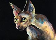 Cats - Intense Sphinx Sphynx Cat art painting by Svetlana Novikova