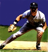 Don Mattingly David Pucciarelli Drawings Metal Prints - Intensity   Don Mattingly Metal Print by Iconic Images Art Gallery David Pucciarelli