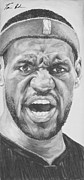 Lebron James Painting Framed Prints - Intensity Lebron James Framed Print by Tamir Barkan