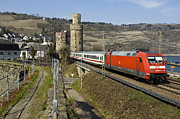 Rhine Valley Posters - Intercity train passing Oberwesel Germany Poster by David Davies