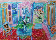 Interior Still Life Drawings Originals - Interior a la Nice by Esther Newman-Cohen