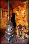 Cabin Interiors Photo Prints - Interior Cabin at Old Trail Town Print by John Malone