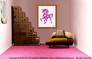 Office Space Digital Art Prints - Interior Design Idea - Pink Unicorn - Animal Art Print by Anastasiya Malakhova