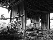 Julie Dant Photos Posters - Interior of Barn in Plainville Indiana Poster by Julie Dant