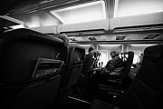 Passenger Plane Framed Prints - Interior Of Jet2 Aircraft Passenger Cabin In Flight Europe Framed Print by Joe Fox