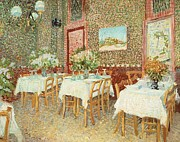 Plates Paintings - Interior of restaurant by Vincent van Gogh