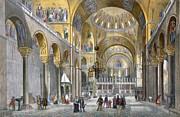 Interior Of San Marco Basilica, Looking Print by Italian School