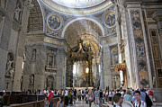 Cathedrals Framed Prints - Interior of St Peters Dome. Vatican City. Rome. Lazio. Italy. Europe Framed Print by Bernard Jaubert