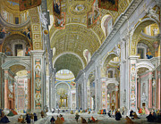 Figures Painting Posters - Interior of St Peters in Rome Poster by Giovanni Paolo Panini