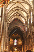 Alsace Framed Prints - Interior of Strasbourg Cathedral Framed Print by Oscar Gutierrez