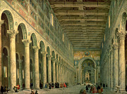Figures Painting Prints - Interior of the Church of San Paolo Fuori le Mura Print by Giovanni Paolo Panini
