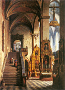 Famous Artists - Interior of the Dominican Church in Krakow by Marcin Zaleski