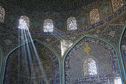 Allah Photos - Interior of the Lotfallah mosque at Isfahan in Iran by Robert Preston