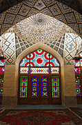 Persian Carpet  Metal Prints - Interior of the winter prayer hall of the Nazir ul Mulk Mosque in Shiraz Iran Metal Print by Robert Preston