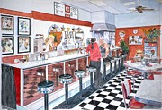 Retro Fan Posters - Interior Soda Fountain Poster by Anthony Butera