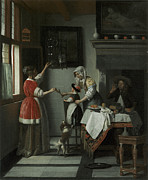 Dinner Paintings - Interior with a Child Feeding a Parrot by Pieter de Hooch
