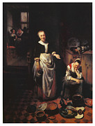 Interior With A Sleeping Maid And Her Mistress Print by Nicolaes Maes