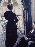 Lace Curtains Posters - Interior Woman at the Window Poster by Gustave Caillebotte