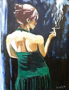 Evening Dress Paintings - Intermission by Judy Kay