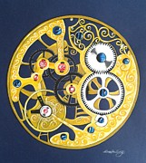 Cogs Painting Framed Prints - Internal Mechanisms Framed Print by Nina Shilling