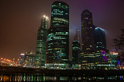 River Mist Framed Prints - International Business Center Moscow City - Featured 2 Framed Print by Alexander Senin