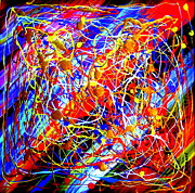 Instant Messaging Paintings - Internet 3 Tron Virtuosity Matrix Digital World Neural Network Connection by Richard W Linford