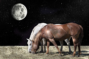 Grazing Horse Digital Art Posters - Interplanetary Horses Poster by Daniel Hagerman
