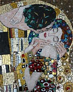 Intimacy Mixed Media Posters - Interpretation of The Kiss by Klimt Poster by Julie Mazzoni