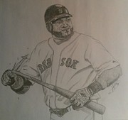 Baseball Bat Drawings - Intimidating David Ortiz by Rox Fort