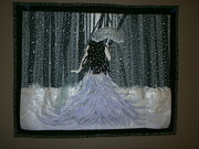 Acrylic Art Tapestries - Textiles Prints - Into a Snowy Night Print by Linda Egland