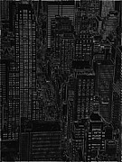 Arial View Art - Into NYC white on black by Meandering Photography
