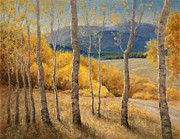 Mountain Road Pastels Prints - Into the Aspen Grove Print by Gary Huber