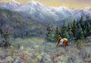 The Horse Pastels Prints - Into The Back Country Print by Mitzi Nelson