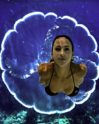 Angel Mermaids Ocean Photo Posters - Into the Blue Poster by Paula Porterfield-Izzo